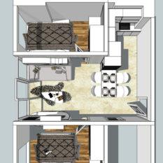 denah paket interior apartemen 2 bedroom