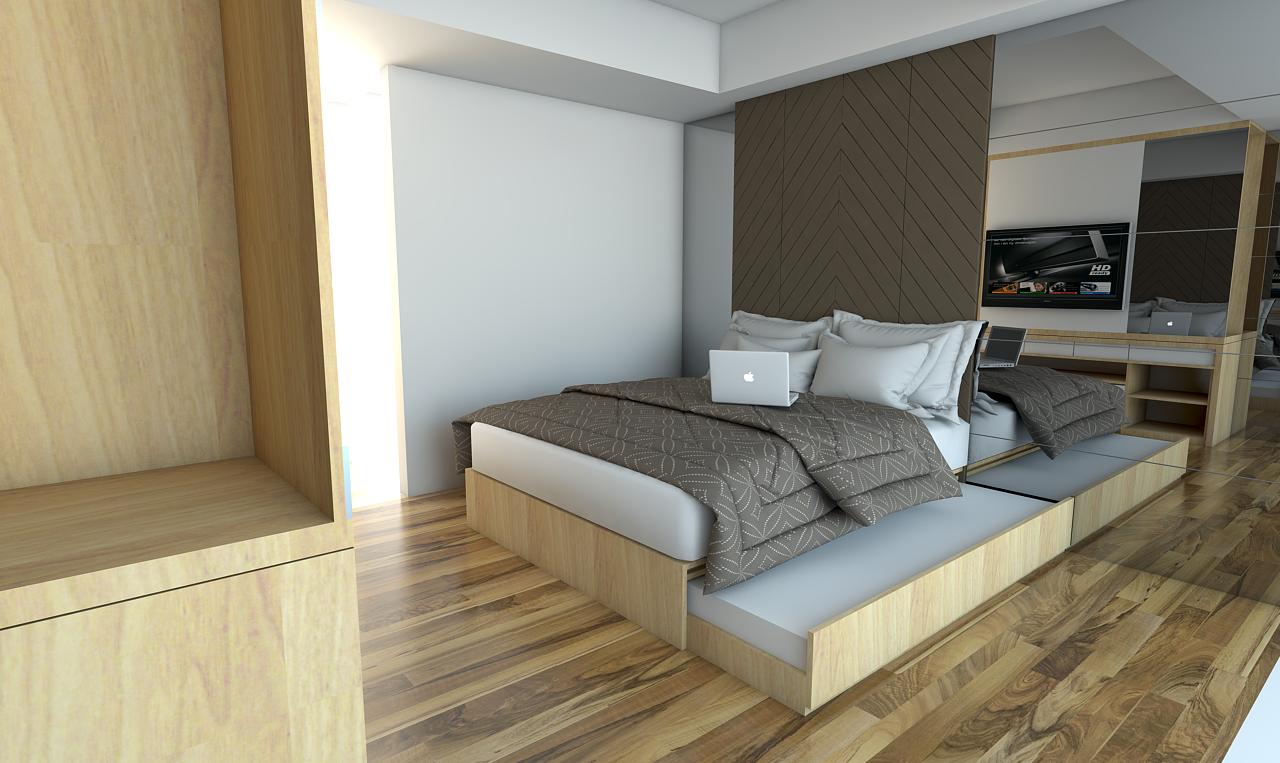 Paket interior apartemen studio landmark residence bandung for Interior apartemen studio