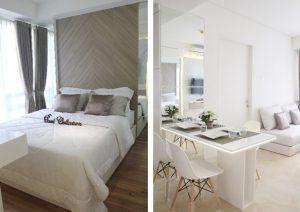 desain interior putih dengan unsur kayu