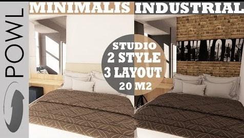 Interior Design Studio Type Apartemen 20 m2 Minimalis and Indutrial Style