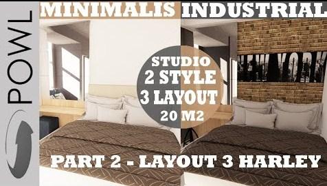 Desain interior type studio 2 style 3 layout 20 m2